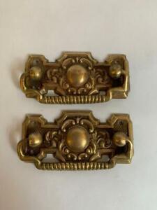 2x Ornate Antique Brass Vintage Cabinet Drawer Drop Pull Handles  #IM1434