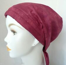 Chemo Cancer Hat Alopecia Hair Loss Head Scarf Turban Cranberry Red Snowflakes