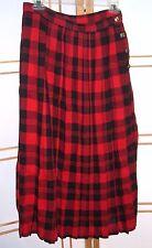 York Fair Vintage Flare Swing Skirt Rockabilly Pleated Red Black Plaid Sz 14
