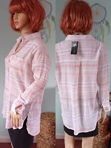 Ladies ❣️New Look Oversized Shirt Blouse Tunic Cotton Long Sleeve Stripe 8/10❣️