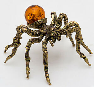 Solid Brass Amber Figurine of Tarantula Spider Totem talisman IronWork