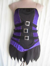 Halloween Costumes USA Sexy Witch Lace-up Pur/Bk Gothic Dress  Sz M 6-8 (Wb3-8)