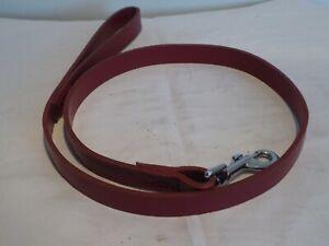 Deep Red  Leather Dog Lead 100cm x 2cm