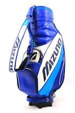 "Mizuno Golf Staff Bag 8"" x 8"" 3-Way Top 2 Full Dividers Rain Hood 6 Pockets Logo"