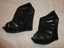 Rouge HELIUM BLACK WEDGE SANDAL SHOES WOMEN'S SIZE 7  (5 INCH HEEL)  ZIPPER BACK