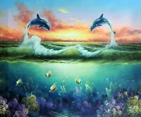 Dolphin Porpoise Jumping Waves Seascape 20X24 Oil Painting By Hand STRETCHED