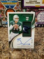 🔥BRIAN LEWERKE RARE ROOKIE PINSTRIPE BOWL PATCH ON CARD AUTO /10 MICHIGAN STATE
