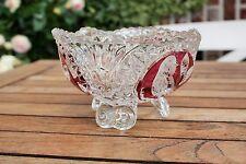 Bleikristall Schale Servierschale  Bonboniere Vogel Rot Klar 3 Füße