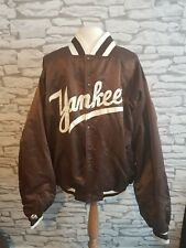 Vintage Nueva York NY Yankees College Chaqueta De Béisbol Marrón Satinado verdadero De Colección