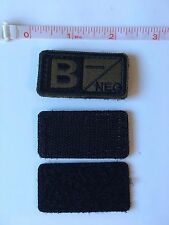 Tactical Blood Type Embroidered Velcro Patch: B Negative  (B-)