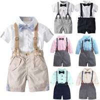 Newborn Baby Kids Boy Summer Formal Party Gentleman Bow Shirts Pants Outfits Set