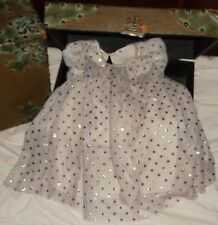 H&M Gray Ivory Gold Glitter Polka Dot Dress 1-1/2 to 2 years 18-24 months