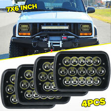 4x 7x6 LED Black Headlights For 1986-1995 Jeep Wrangler YJ 1984-2001 Cherokee XJ