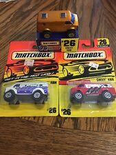 "Matchbox Chevy Van #26 - 3 Van Lot - Gold 1/10000, Red ""Claws"" & White - MoC"