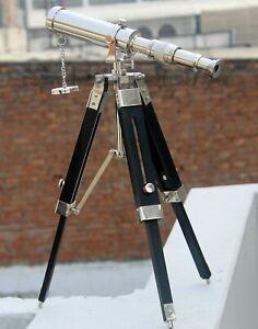 Home/Office Decorative Brass Telescope With Wooden Tripod Spyglass Balcony View