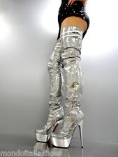 MORI ITALY LUXURY OVERKNEE PLATFORM SEXY BOOTS STIEFEL STIVALI LEATHER SILVER 42