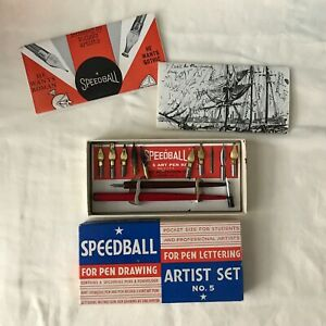 Speedball Artist Pen Set No 5 in Box Instructions Penholder & Pen 4 Xtra Nibs
