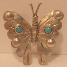 Tiny Jade Turquoise Stones Fm Mexico Beautiful Old Sterling Silver Butterfly Pin