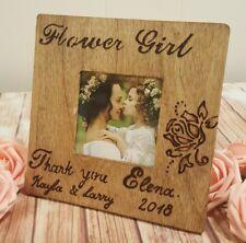 Flower Girl Picture Frame Rustic Wedding Gift  Thank you Gift Keepsake Custom
