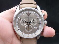 New Old Stock EMPORIO ARMANI AR6040 Chronograph Leather Strap Quartz Men Watch
