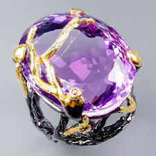 Handmade SET50ct+ Natural Amethyst 925 Sterling Silver Ring Size 9/R121742