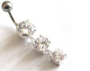 925 SILVER Dangle Belly Bar - 3 DROPS - Clear Crystals - 6mm 8mm 10mm 12mm 14mm