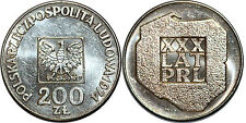 POLOGNE 200 ZLOTYCH 1974 ARGENT Y#72
