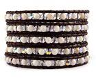 Chan Luu White Magnesite Crystal AB Wrap Bracelet on Natural Dark Brown Leather