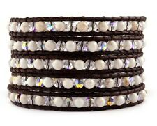 Chan Luu White Magnesite Crystal AB Wrap Bracelet on Natural Dark Brown Leather