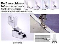 Nähfuß, Fuß für nahtverdeckte Reißverschlüsse Sohlenbreite 10,5 mm SCHMAL S518NS