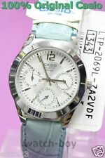 LTP-2069L-7A2 Blue White Casio Ladies Genuine Leather Band Day Date 24h 50m New