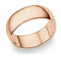 """8mm High Polish """"ROSE GOLD"""" Stainless Steel WEDDING BAND Ring – FREE Gift Pouch"""