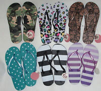 NWT different pattern striped/dot/camo/floral/ spot flip flops, sizes S, M or L