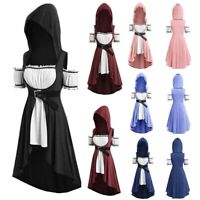 Womens Vintage Cloak Plus Size Hooded Twinset High Low Punk T-shirt Tops US