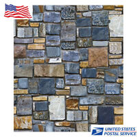 10*0.45M 3D Stone Self-sticking  Brick WallPaper Roll Waterproof PVC Wall Stick
