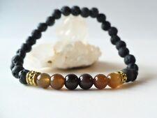 Bracelet élastique en perles 6 mm agate et pierres de lave - gemme naturelle