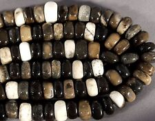 "PETRIFIED WOOD OPALITE 12x7MM SQUARE W/ ROUNDED CORNER RONDELLE BEADS 16"" STRAND"