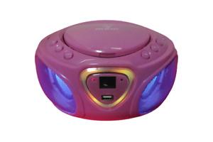 Auna Pink CD Player Boombox AM/ FM Radio  No Power Cord Batteries Video