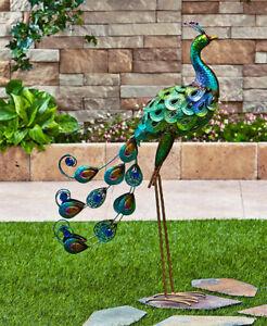 Metal Lawn Bird Statue with Jewel Accents - Metallic Garden Ornament