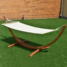 "142""x50""x51 4; Wooden Curved Arc Hammock Stand with Cotton Garden Outdoor"