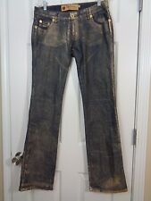 Apple Bottoms Women's Jeans Embellished Gold Coated Slight Flare Size 9 / 10