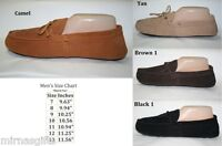 MEN'S MOCCASINS SLIPPERS BLACK BROWN CAMEL TAN  SIZES 7 8 9 10 11 12 13