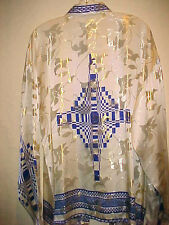 VINTAGE MENS SATIN SILK METALLIC SILK SHIRT COLOR WHITE WITH BLUE WITH GOLD  XL