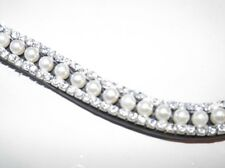 """Crystal & Pearl Brown Havannah leather browband (17"""")"""