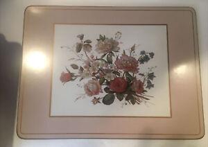 6 Vintage Pimpernel Placemats Floral Bouquet Cork Back Flawed Box English Roses