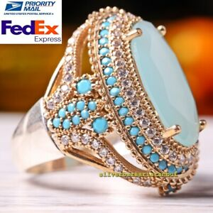 TURKISH JEWELRY 925 SILVER HANDMADE TURQUOISE GEMSTONE WOMAN LADY RING ALL SIZE