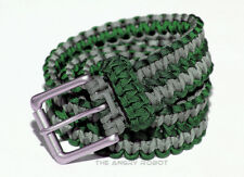 Paracord Belt - Emerald Green and Grey with Matte Nickle Buckle - S M L XL