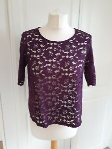 Ladies NEW Burgundy DOROTHY PERKINS LACE TOP SIZE 12 PETITE