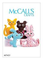 McCalls Crafts SEWING PATTERN M7451 To Make Stuffed Toy Cat,Dog,Bear,Rabbit