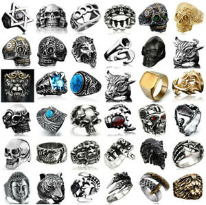 Stainless Steel Men's Gothic Punk Biker Finger Rings Male Jewelry Rock Goth Cool
